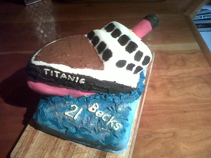 Last night aboard the Titanic themed 21st - Chocolate Brownie cake
