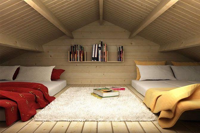Gartenhaus mit Schlafboden - hier können sogar bis zu vier Gäste übernachten.