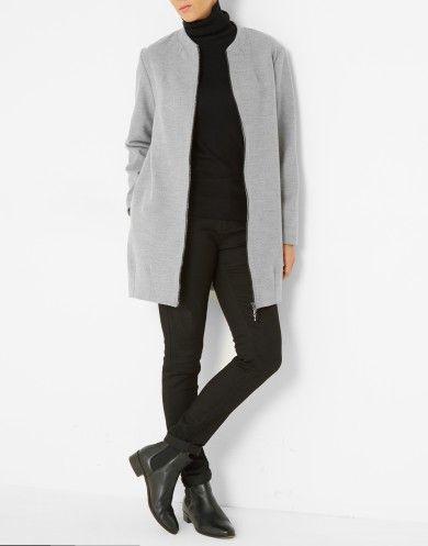 Veste longue gris clair femme