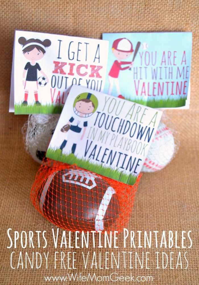 Sports Valentine Printables for Soccer, Football and Baseball