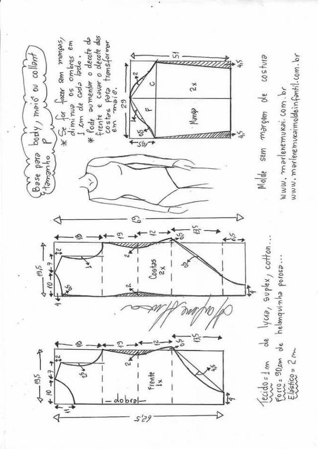 Patrón base para body o traje de baño | Patrones | Pinterest ...