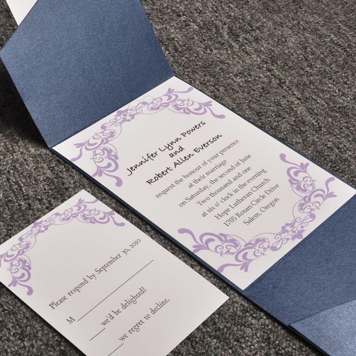 elegant purple damask card and blue pocket affordable wedding invitation sets EWPI015 as low as $1.69