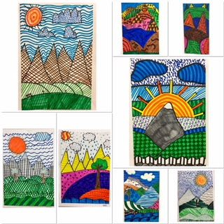 Layered Landscapes with Mountains and Markers!  Great project for middle school!