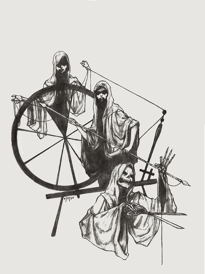 the fates greek mythology | The Fates Symbol Fate drawings - the fates by