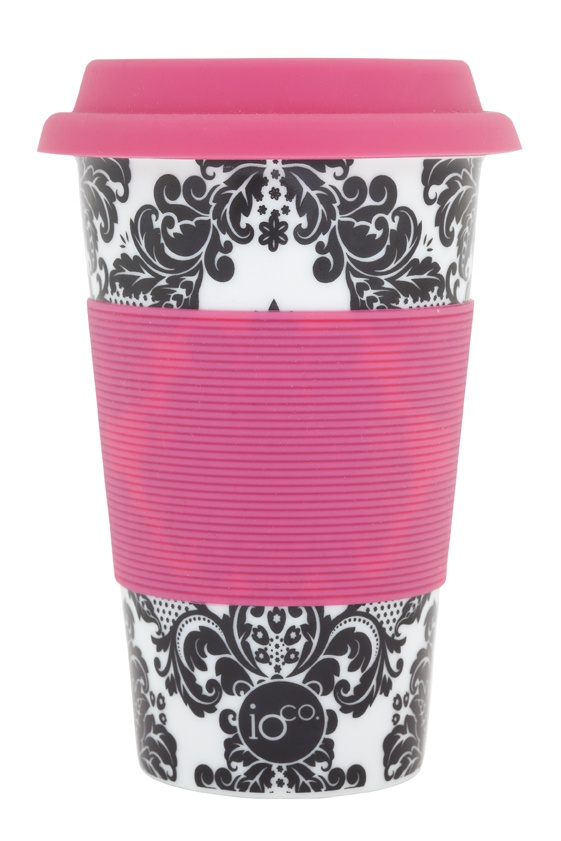 black ivy... tonal filigree print with popping pink silicon sleeve... ioco coffee and tea travellers     shop now www.ioco.com.au