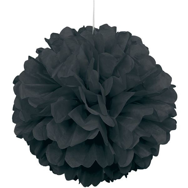 Party Souq - Black Puff Ball Tissue Decoration|1 pc, $ 8.02