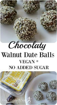 These Chocolaty Walnut Date Balls are vegan, have no added sugar, and are quick and easy to make. There is also a gluten-free option!