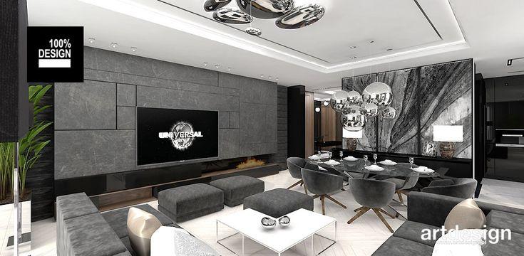 KEEP THE BALL ROLLING   Wnętrza apartamentu   projekt salonu z jadalnią