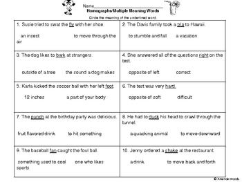 This is an assessment worksheet over homographs/multiple meaning words. You can find more activities to go along with multiple meaning words in my ...