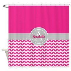 Pink Gray Chevron Shower Curtain #ad