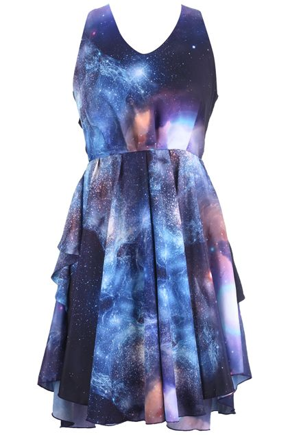 "ROMWE | ""Mysterious Universe"" Hollow Back Dress, The Latest Street Fashion"
