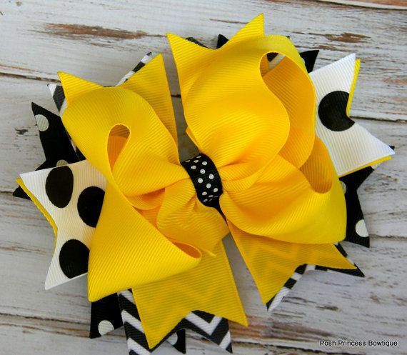 Girls Hair bow Chevron Yellow Black White Stacked hair bow, Game Day Hair Bow, Yellow Jackets, Georgia Tech, Team Spirit Bows