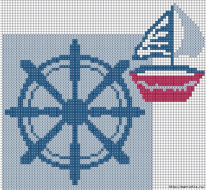 Подушки с вышивкой. Морская тема (3) (700x643, 594Kb)