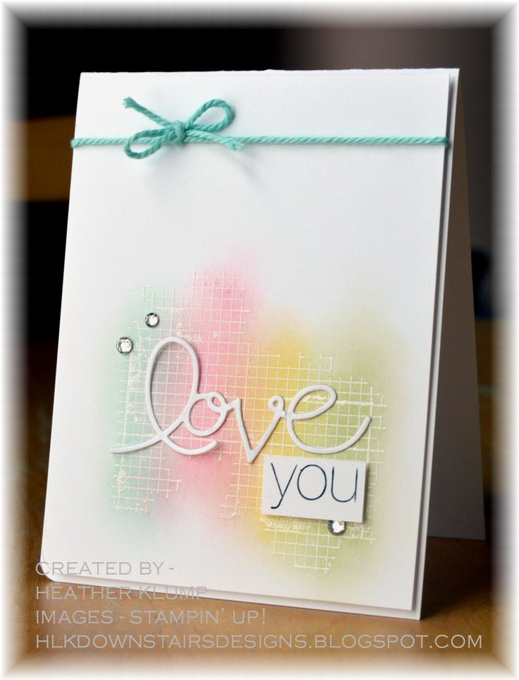 White embossing and sponge daubers for a perfect love card.Scrapbook Ideas, Downstairs Design, Cards Ideas, Heather Klump, Stampin Up Sponge Dauber Cards, White Embossing, Cards Inspiration, Express Thinlits, Grid Kind