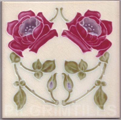 Art Nouveau Arts & Crafts Azulejos de cerâmica Lareira Banheiro Cozinha um 110