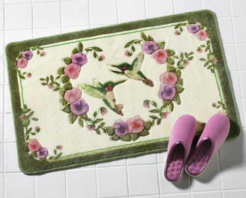 Hummingbird Bathroom Accent Rug W Purple Pink Flowers