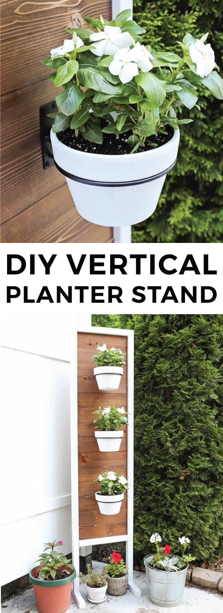 How to build a DIY vertical planter stand. Pretty backyard decor idea for a vertical garden or herb garden. This wooden planter provides backyard privacy as a fence alternative.