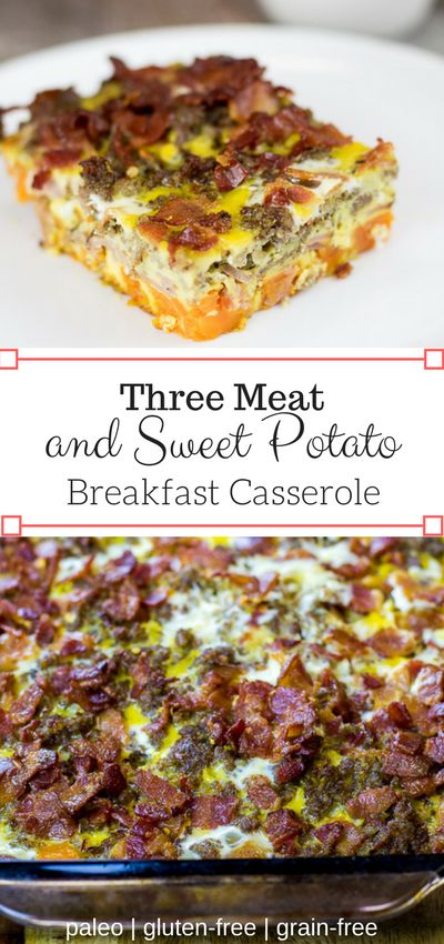 This Paleo Three Meat and Sweet Potato Breakfast Casserole combines all of the tasty breakfast meats with sweet potatoes for a savory and flavorful meal! via @fithappyfree (Paleo Casserole)