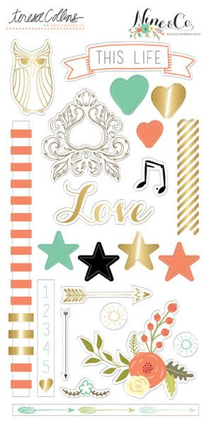 Teresa Collins Designs - Nine and Co Collection - Die Cut Chipboard Stickers - Elements at Scrapbook.com