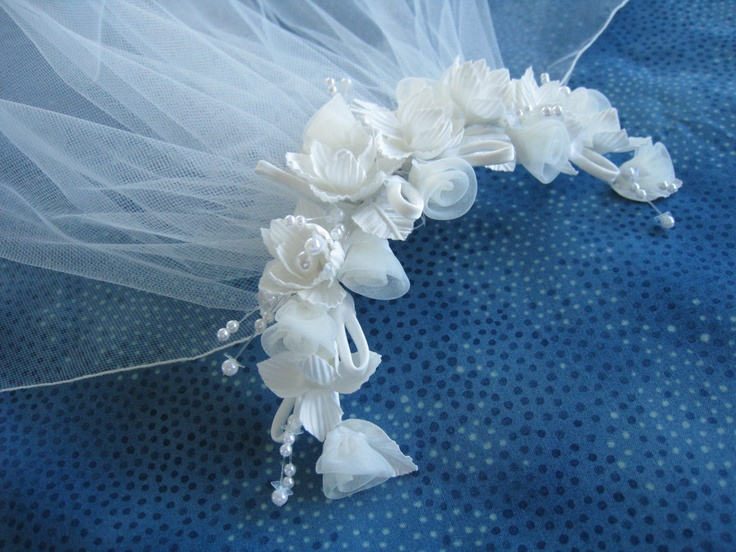 Ivory First Communion Veil on Headpiece with Silk Flowers and Organza Rosebuds and Pencil Edge