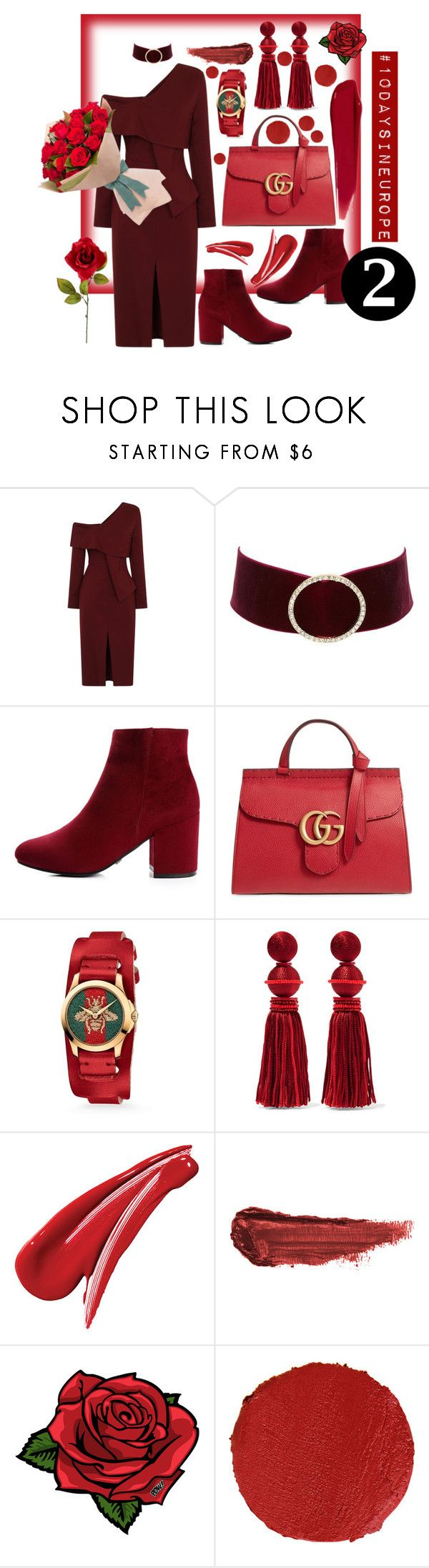 """""""mobaylejen❤️"""" by rainadreyz ❤ liked on Polyvore featuring Charlotte Russe, Gucci, Oscar de la Renta, By Terry, Pôdevache and rms beauty"""