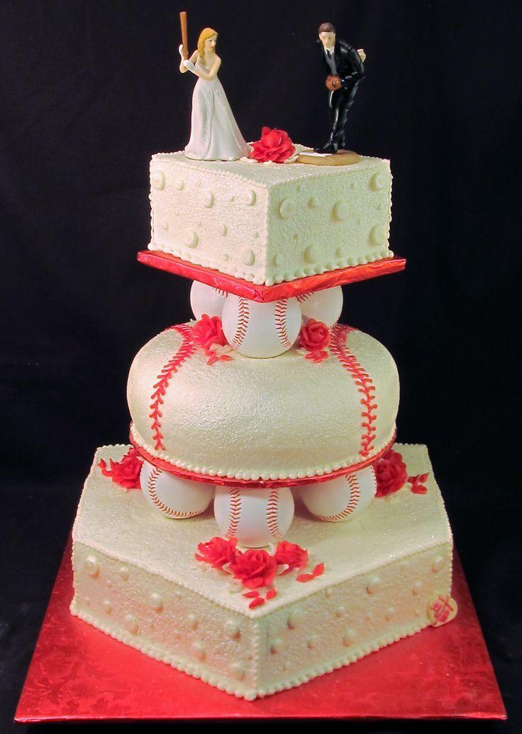 Baseball Wedding Cake made by The Master Baker using our Baseball Cake Topper (https://themastersbaker.wordpress.com/page/4/)