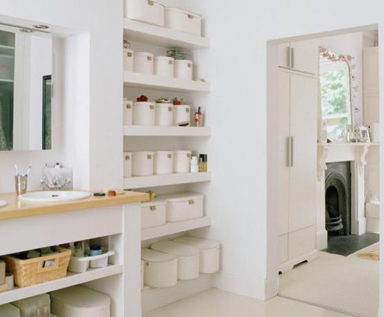 Storage On The Walls For The Small Bathroom