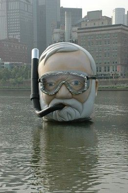 Inflatable Andrew Carnegie Head Invades Pittsburgh during the Three Rivers Art Festival 2014   WSJ