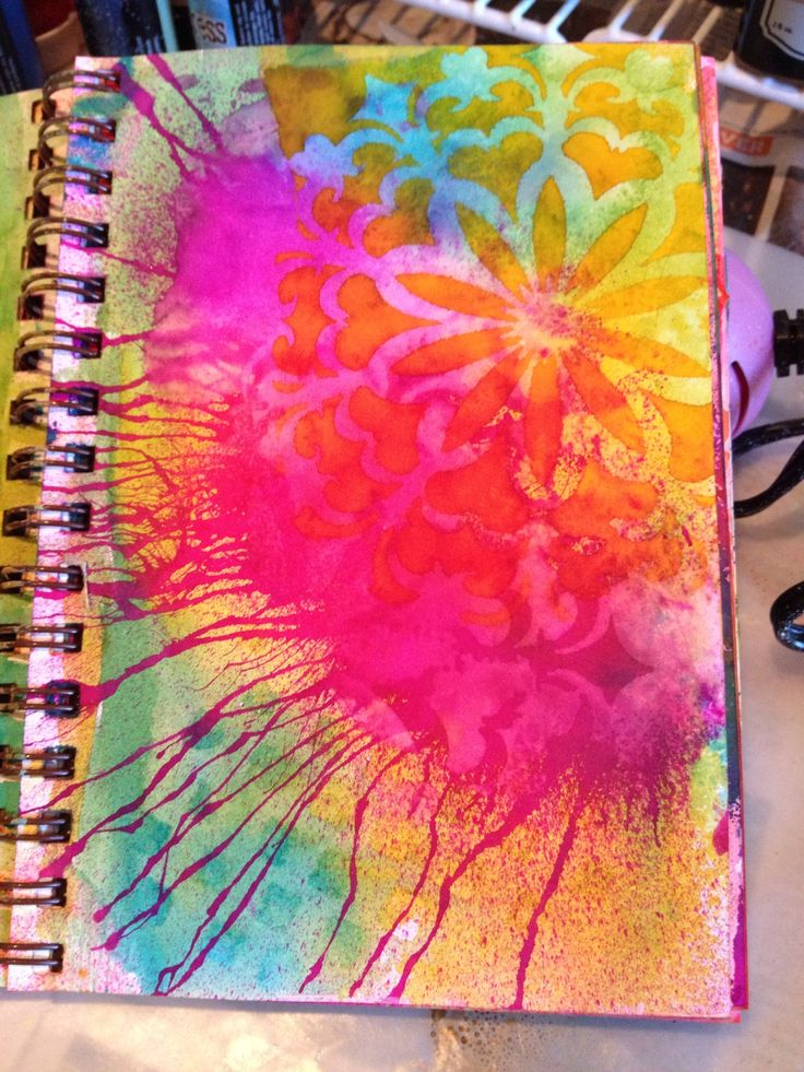 Spatters, with Dylusion sprays and stencils for art journal background by Claire.