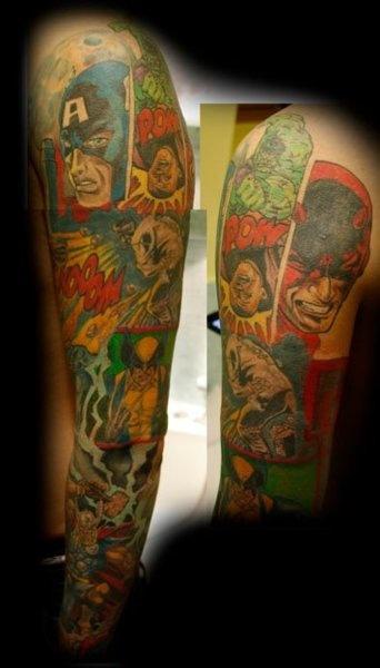 Marvel Comics Tattoo.Tattoo Ideas, Tattoo Marvel, Marvel Tattoo Sleeve, Sleeve Tattoo, Marvel Comics Tattoo, Marvel Sleeve, Comics Book Tattoo, Tattoos Piercing, Comic Tattoo