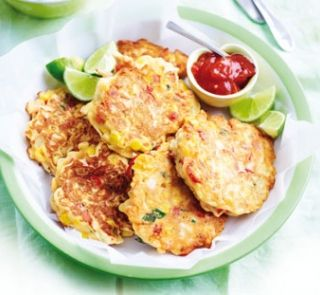 Chicken, Corn and Capsicum Fritters