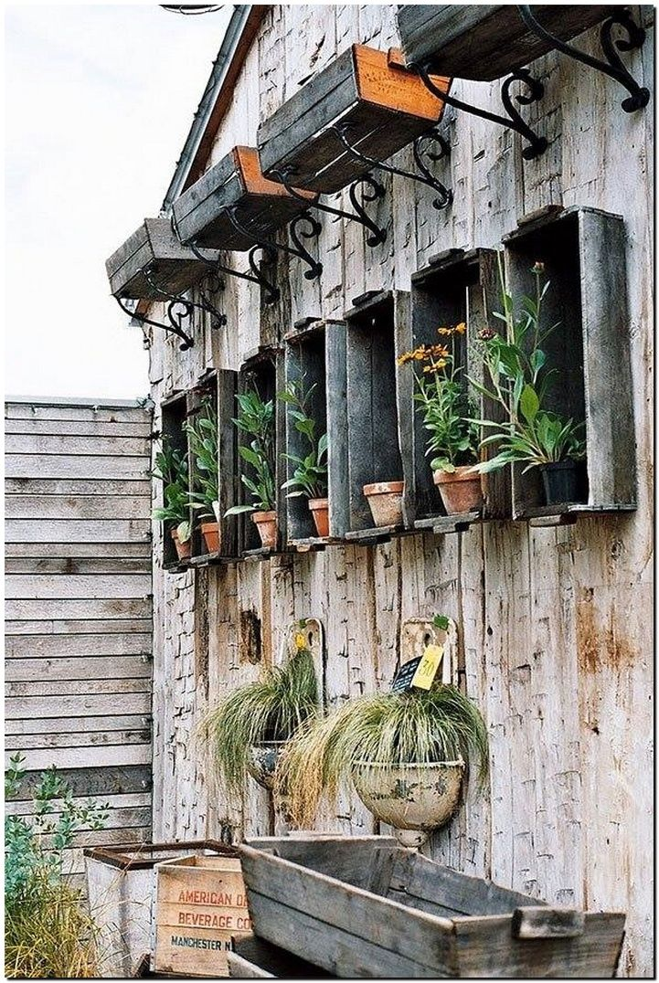 fruit crates wall planters