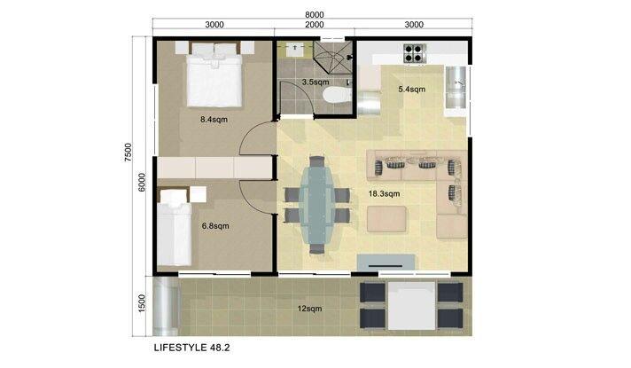 Guest House Floor Plan 2 Bedroom Guest House Pinterest