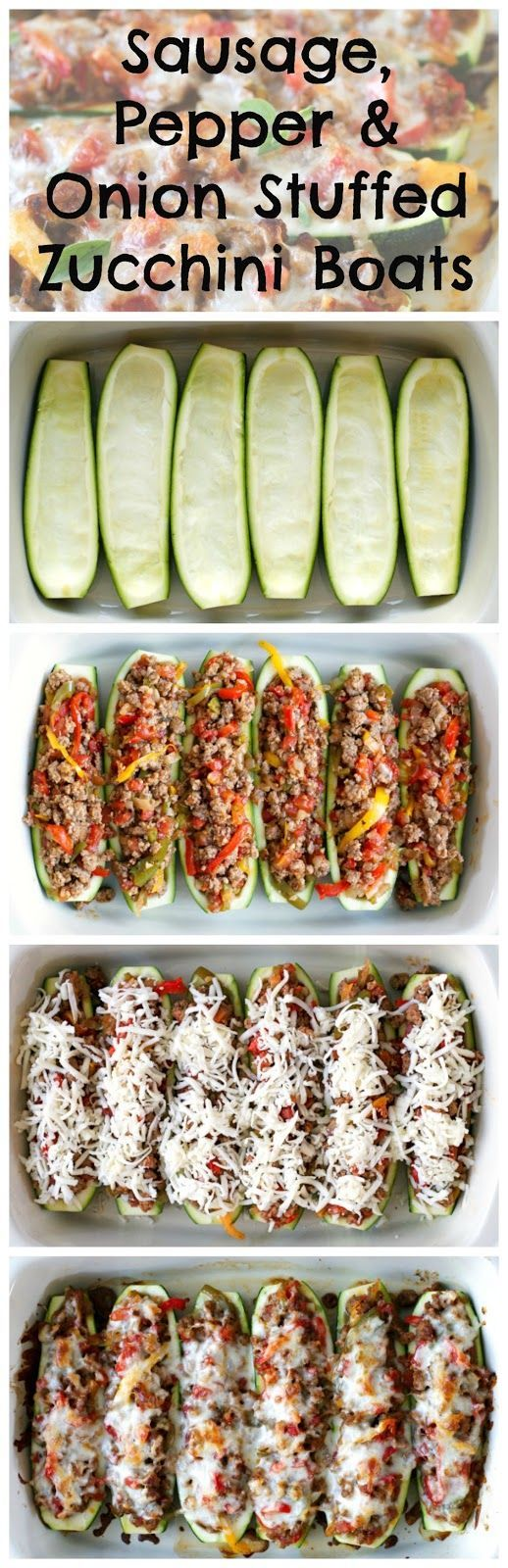 Sausage, Pepper, and Onion Stuffed Zucchini Boats are a twist on the classic northern dish, made by swapping the roll with bright and fresh zucchini boats! | thetwobiteclub.com | #JDFamilyTable #ad