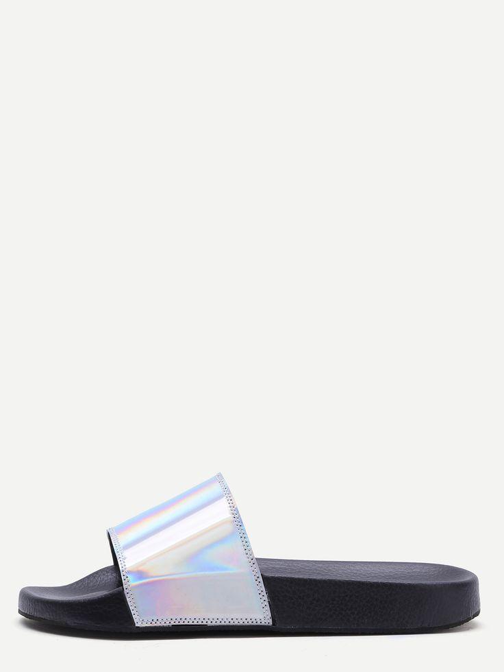 www.wannabesuburbanrockstar.com  Shop Silver PU Slider Flat Sandals online. SheIn offers Silver PU Slider Flat Sandals & more to fit your fashionable needs.