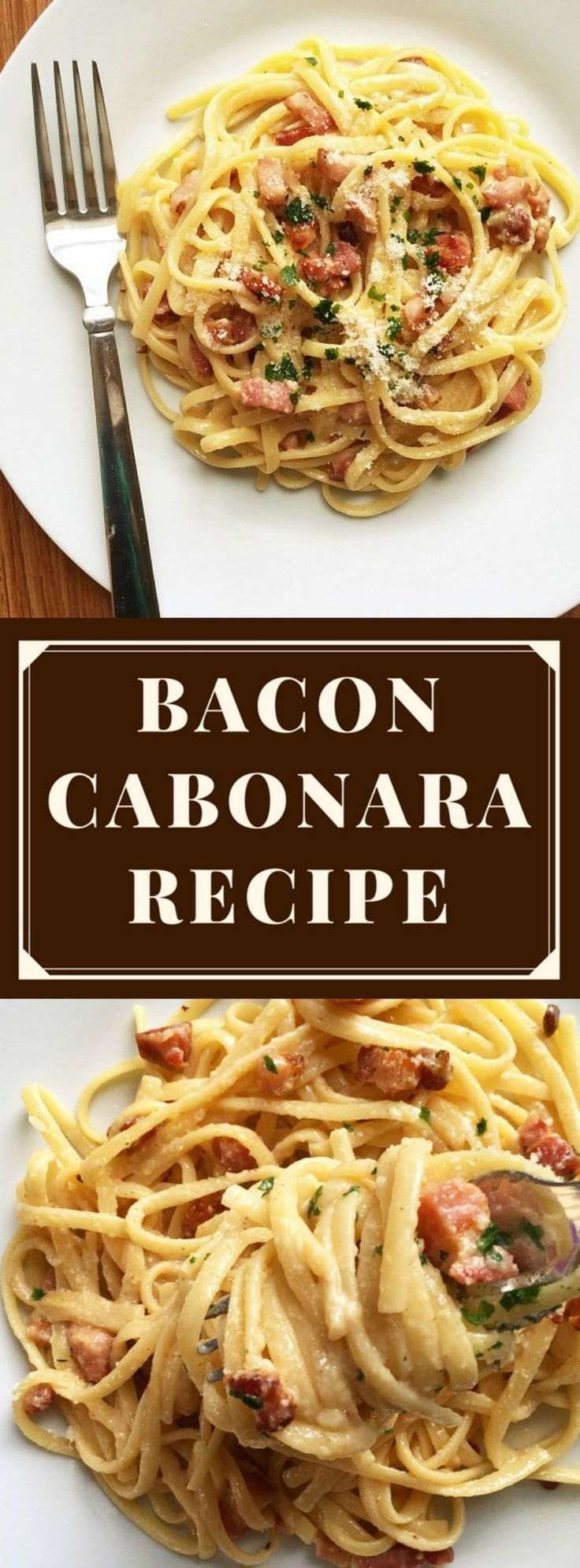Bacon Carbonara ~ with parmesan cheese and eggs...no cream, no complicated sauces...just the real deal! #carbonara, #spaghetticarbonara, #baconcarbonara