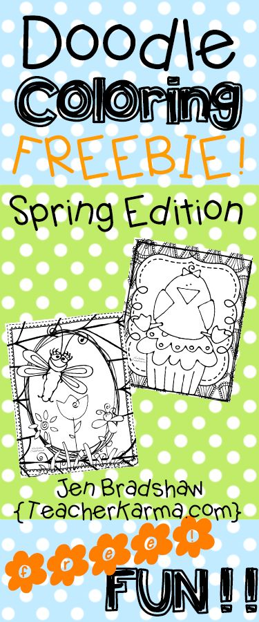 Spring And Easter Doodle Coloring FREEBIE