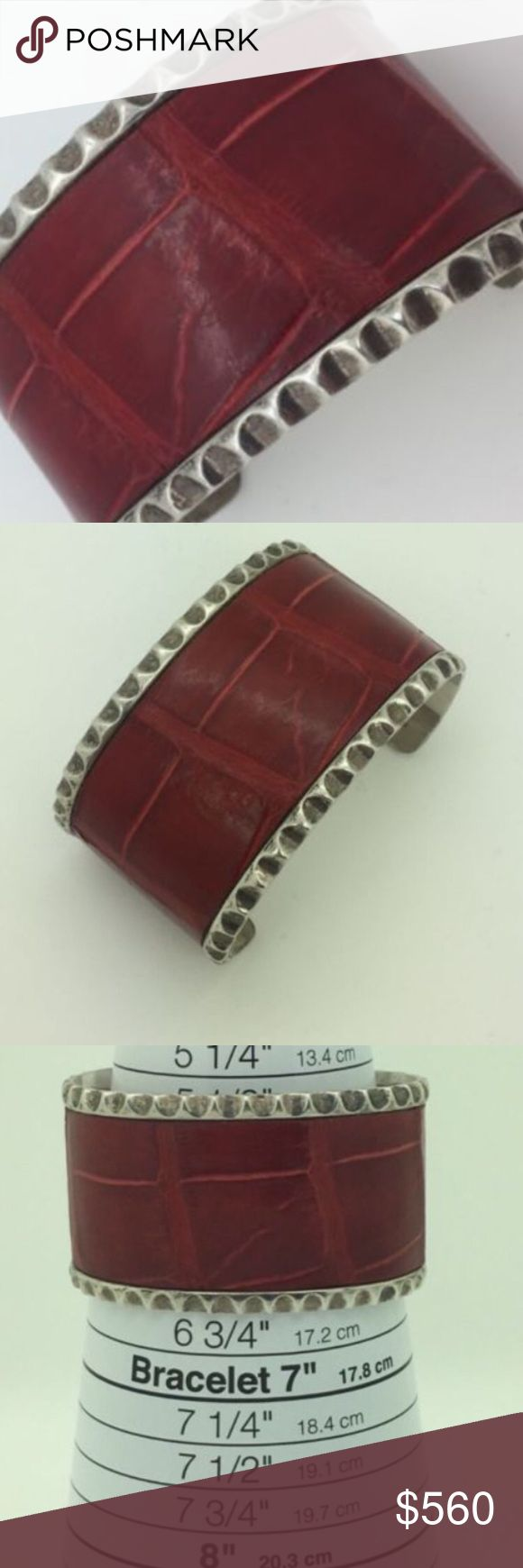 pat Areias Silver alligator leather bracelet!!! Unique pat Areias Sterling silver bracelet!!! Super RARE!!! Wonderful present for yourself or anyone you ❤️ !!! Authentic guaranteed 100% or your money back no question asked!!! Engraving: a pat Areias 925 !!! Condition pre owned excellent condition guaranteed!!! Bracelet is Sterling silver & alligator leather!!! Bracelet is in diameter inner: 60mm !!! Bracelet is: 37mm with!!! Weight: 45.8 grams!!! Please see pictures for more information…