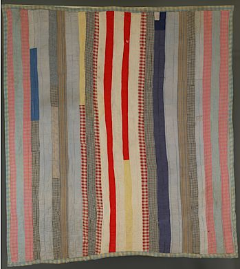 Vertical Strip Pieced Quilt, circa 1920. Maker unknown. Gift of Mrs. O. V. Adams TTU-H1978-203-232.   (Photo courtesy of the Museum of Texas Tech University)