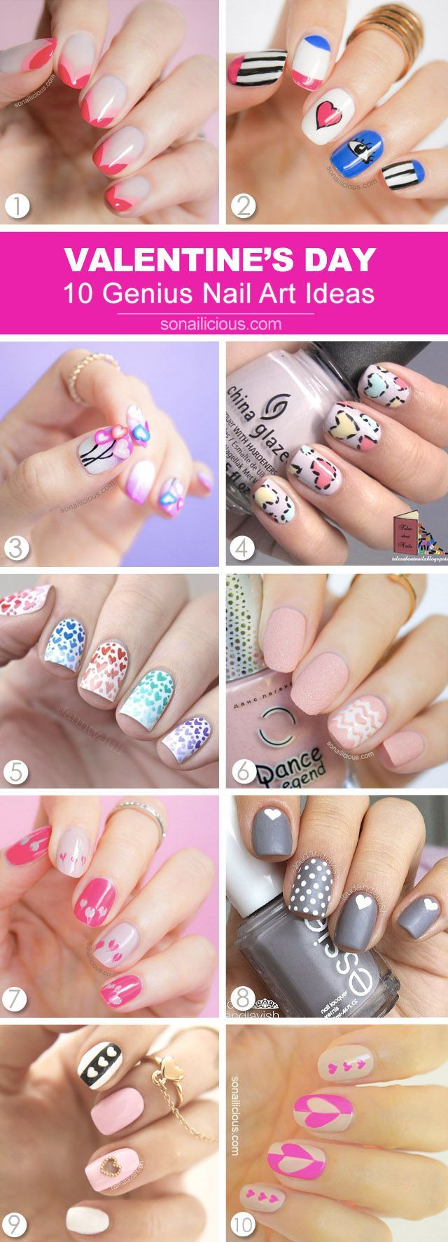 10 best Valentine's Day nail art ideas. Click through for tutorials. #valentinesday #nailart