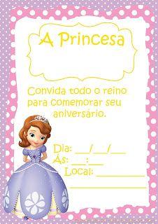 convite aniversário princesa sofia para imprimir grátis