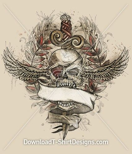 Pirate Skull Wings Dagger Tattoo. Download this design & print on your T-Shirts or products today.