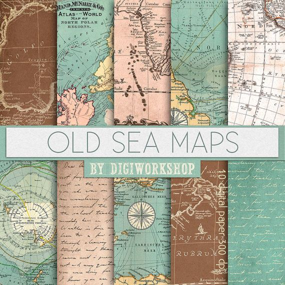 "Vintage maps digital paper ""Old Sea Maps"" with vintage or antique sea maps…"