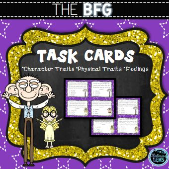 The BFG - Character Traits, Physical Traits and Feelings Task Cards. Multiple choice format, students response sheet and answers included.