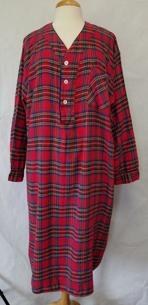 Oscar De La Renta Red Plaid Flannel Nightgown Womens Size D Xl Calf