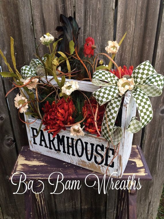 Rooster Centerpiece Farm Decor Rooster Decoration by BaBamWreaths