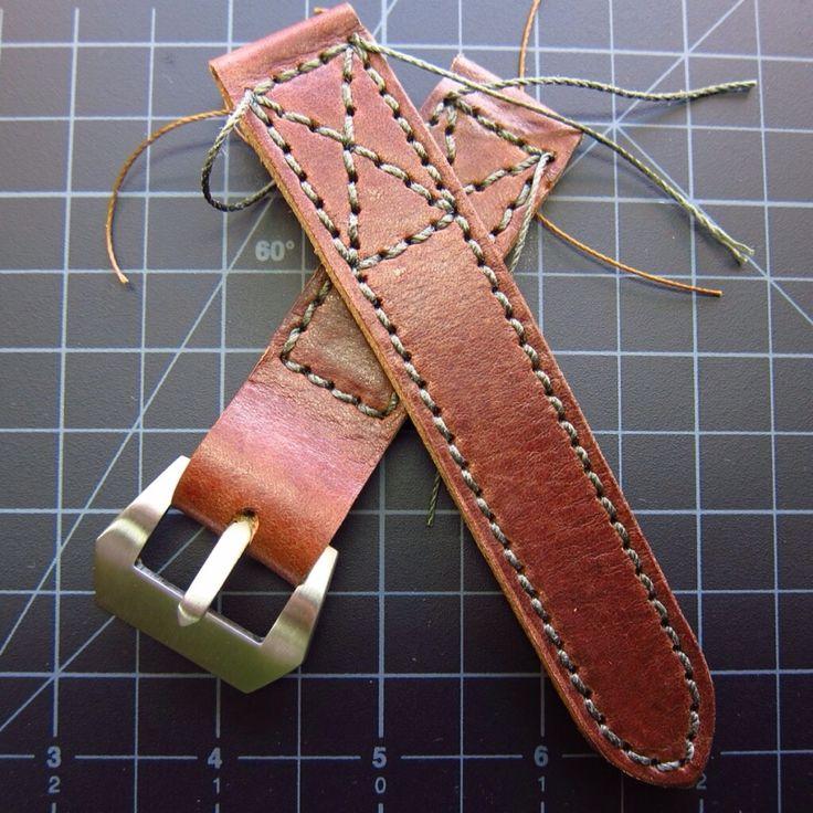 Custom belt strap coming together :-)  www.vintagerstraps.com #vintagerstraps #paneraistraps #paneraicentral #handmade #madeintheusa #watchstraps #panerai