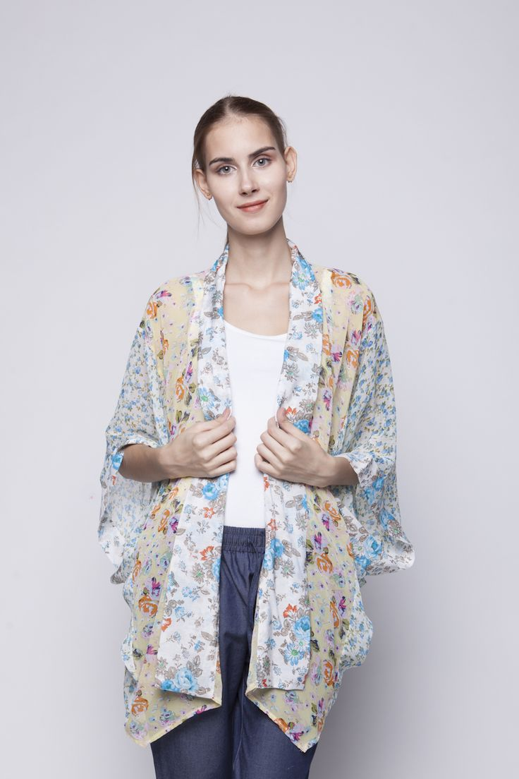 Belle Kimono Blue & Orange Flower | Rp 221.250