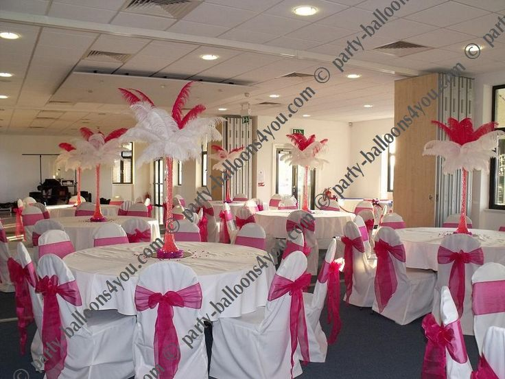 Fuschia wedding reception table decorations hot pink for Wedding party table decoration ideas