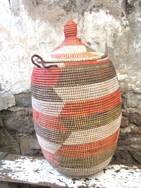 Round Storage Basket laundry basket with lid by africanbaskets, $74.00